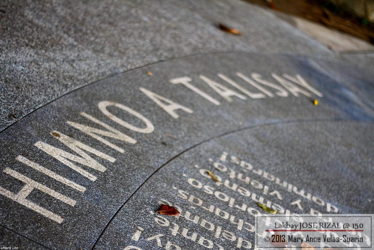 The poem of Rizal titled, Himno a Talisay (Hymn to Talisay), was beautifully etched on the grounds of the Shrine. [Photo by Mary Anne Velas-Suarin]