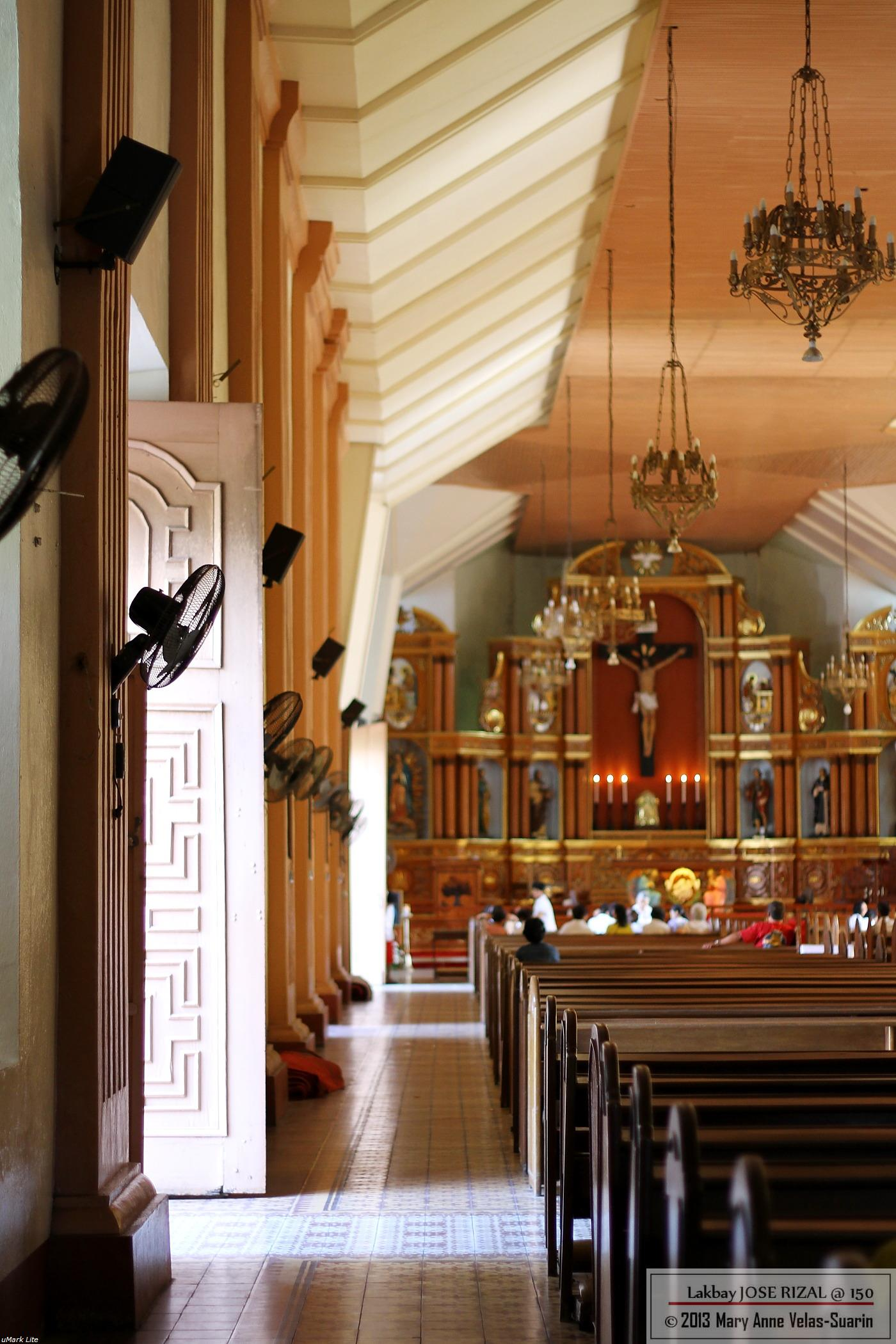 The interiors of San Juan Bautista Church in Calamba City, Laguna. [Photo by Mary Anne Velas-Suarin]
