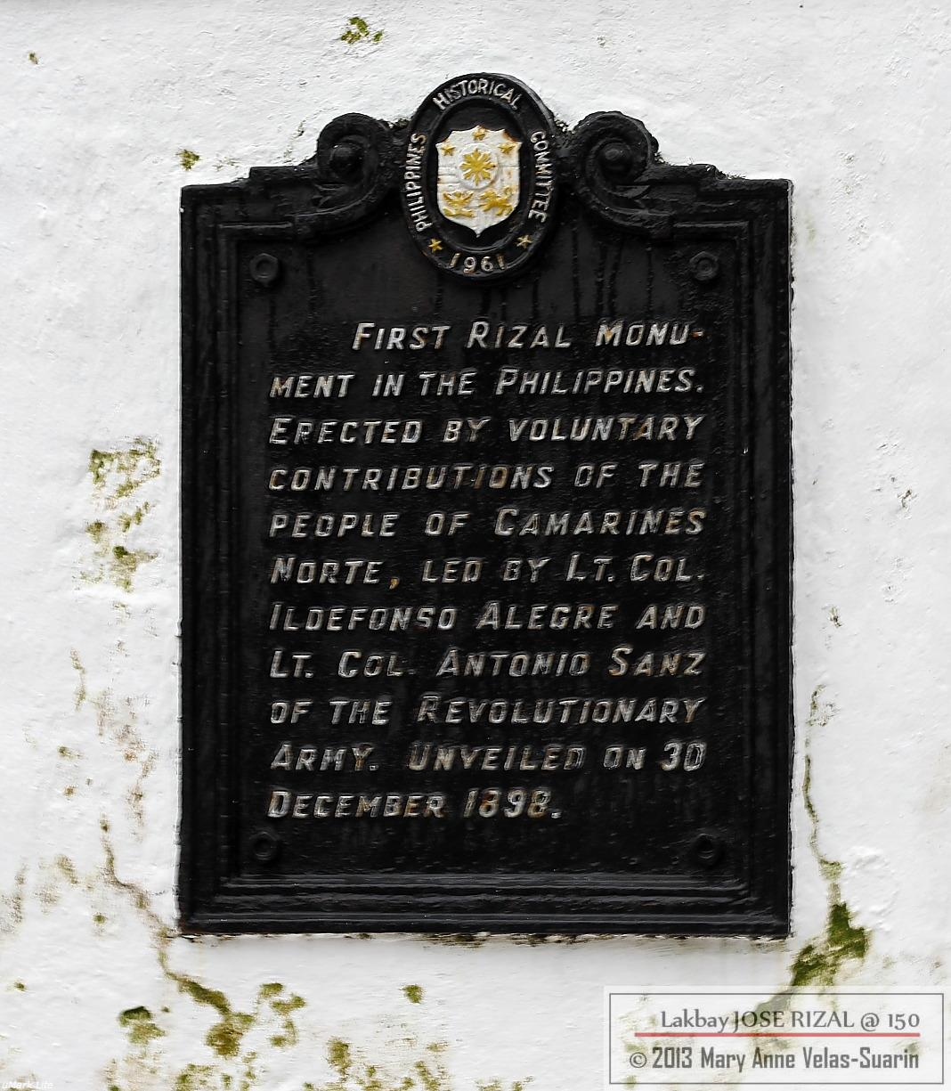 The historical marker of the Rizal Monument in Daet, Camarines Norte. [Photo by Mary Anne Velas-Suarin]