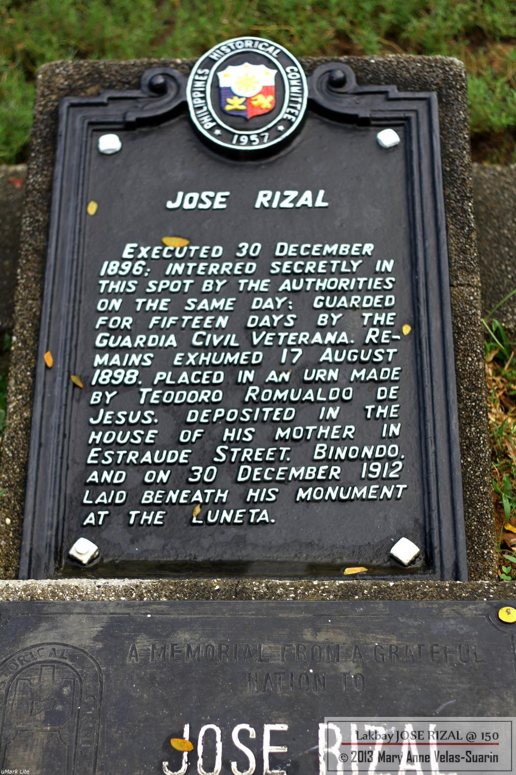 Jose Rizal was first buried here secretly.  [Photo by Mary Anne Velas-Suarin]