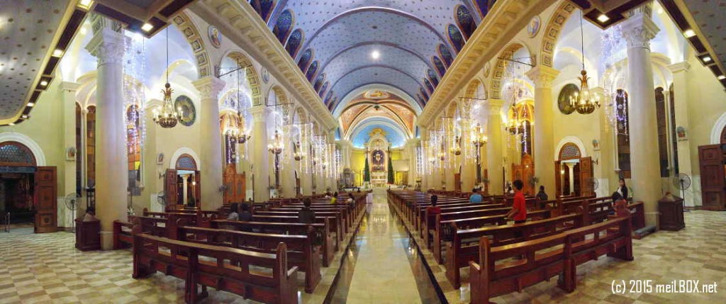 Immaculate Conception Cathedral_The altar and center aisle (taken in panorama view). [Image by M. Velas-Suarin]