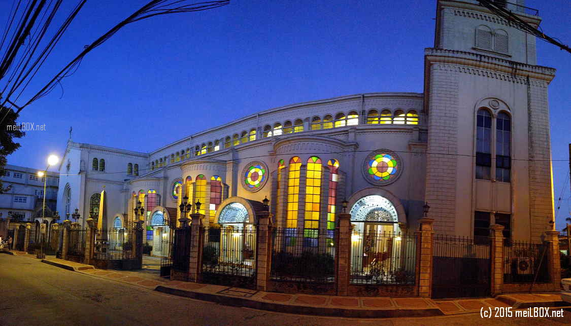 Immaculate Conception Cathedral of Cubao, showing the left side (if one is facing the main entrance). This image was taken through a panoramic view. [Image by JR Suarin]