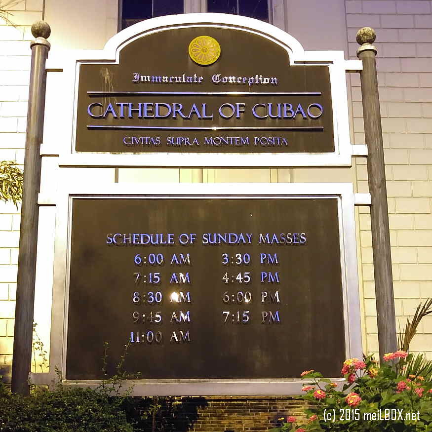 Immaculate Conception Cathedral of Cubao, showing the regular Sunday masses. [Image by JR Suarin]