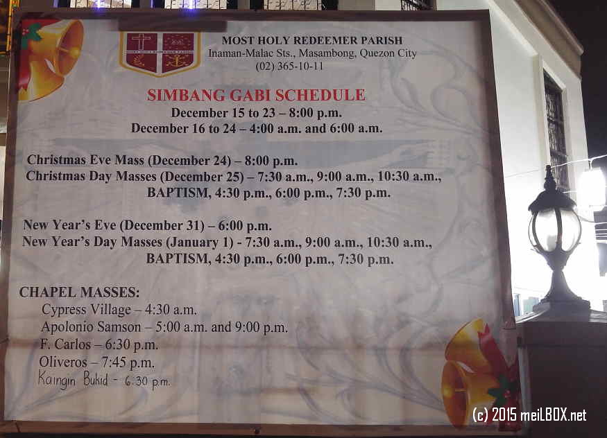 Schedule of Simbang Gabi at the Most Holy Redeemer Parish-St Philomena Shrine [Image by M. Velas-Suarin]