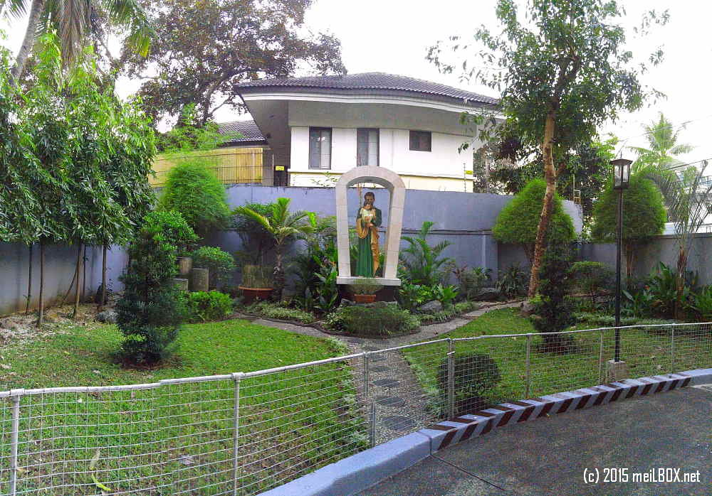 Pink Sisters Convent in New Manila. This is  the garden at the back of the convent (near the exit gate) and where you would find a statue of St. Joseph and Jesus. [Image by M. Velas-Suarin]