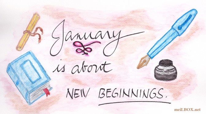 January is about new beginnings. [Sketch and calligraphy by M. Velas-Suarin]