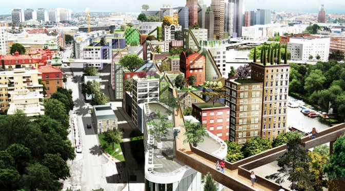 "The proposed (commissioned) project, Klarastaden, a series of apartment structures and elevated sidewalks (""skyways""), planned to be built in downtown Stockholm.(Image credits: Anders Berensson Architects. This image also appeared in TechInsider.)"