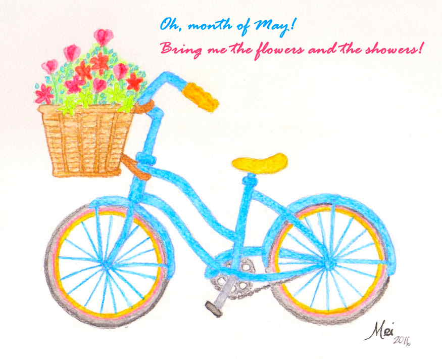 Just keep on swimming! (and biking!) [Sketch in watercolor by Mei Velas-Suarin]