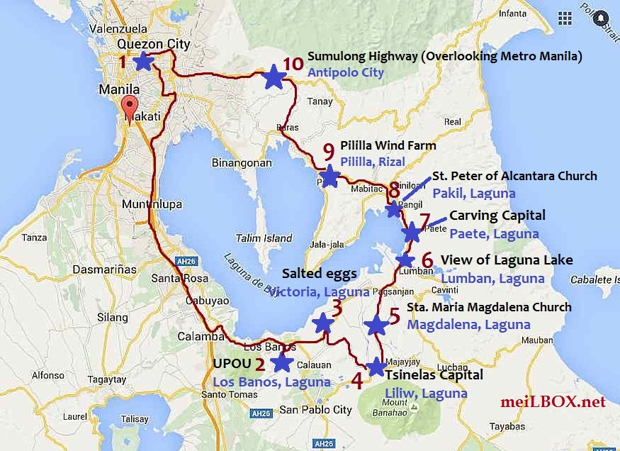 "Laguna and Rizal ""Loop"". The blue stars mark the places where we stopped. [Map courtesy of Google]"