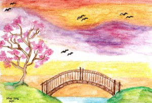 Take every chance to hold someone's hands. Build bridges! [Sketch in watercolor by M. Velas-Suarin; inspired by a work found in the Pinterest account of Natasha Dilip. Please write to me if you think that this attribution is erroneous.]